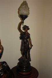 Rare Brass Victorian Newell Lamp