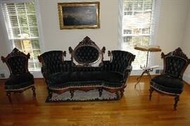 Period Victorian Belter - Style Parlor Set with Carved Walnut Accents - Sofa and Chairs