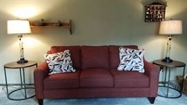 Lazy Boys Sofa and Iron/Wood Coffee Tables, Birch Branch Lamps