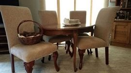 Wood Table (+ 2 Leaves) w Newly Upholstered Chairs