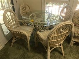 #2Glass Top Rattan Table 4 chairs  42x28 $125.00