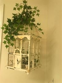 #10Bird Cage White Distressed Metal/Wood $30.00