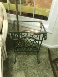 #11Green Metal End Table with Glass Top  16x12x24 $75.00