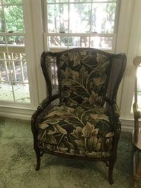 #16Cane/Leaf Upholstered Wing Back Chair $75.00