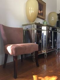 Suede Crate and Barrel Rounded Back Chairs
