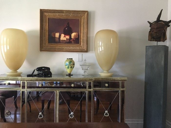 Jackson Oil Painting, Orient and Flume Art Glass, Vintage Telephones, African Masks