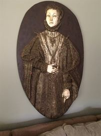 Beautiful Harold Studios plaster high relief portrait of an Elizabethan lady in the Office!