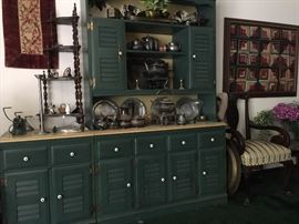 Heywood-Wakefield cabinets filled with silverplate fancies in the Cabinet Hallway!