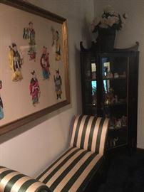 Fabulous Oriental 8 Immortals artwork and handsome corner cabinet!