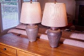 Item 2 Pair Hammered metal decorative Lamps