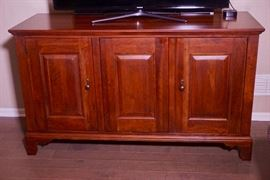 Item 3  Cherry wood console entertainment cabinet