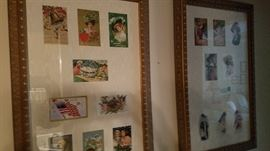 framed postcards plus others loose in box