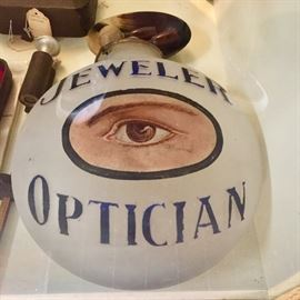 Antique jeweler Optician glass advertising globe