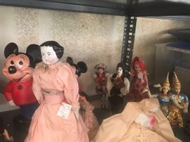 DOLLS - ANTIQUE CHINA HEAD DOLLS, MICKEY MOUSE, FOREIGN DOLLS, AMERICAN BEAUTY, AND MORE