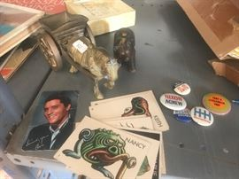 ELVIS, STICKERS, POLITICAL BUTTONS