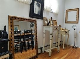 entry or hallway accent tables, reteo brass lamp, great frames, candlesticks