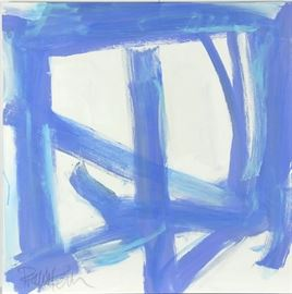 """Robbie Kemper Original Acrylic on Canvas """"Blues in Square"""": An original abstract acrylic painting on canvas by contemporary American artist Robbie Kemper (Cincinnati, Ohio; born 1957). This original abstract geometric based painting features layered blue marks over a white to light blue washed background. This work is not framed but equipped to hang. Kemper studied art at the University of Cincinnati College of Design, Art, Architecture and Planning, and is currently a studio resident at the Pendleton Art Center in the historic district of Over-the-Rhine, Cincinnati, Ohio. For more information on the artist, please visit the link provided under Additional Information. See more at: robbiekemper.com"""