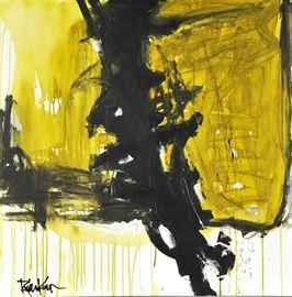 """Robbie Kemper Original Acrylic on Canvas """"Black On Lime Ochre"""": An original abstract acrylic painting on canvas by contemporary American artist Robbie Kemper (Cincinnati, Ohio; born 1957). This original non-representational painting has washed layers of lime and yellow ochre under and over black, bold strokes. This work is not framed but equipped to hang. Kemper studied art at the University of Cincinnati College of Design, Art, Architecture and Planning, and is currently a studio resident at the Pendleton Art Center in the historic district of Over-the-Rhine, Cincinnati, Ohio. For more information on the artist, please visit the link provided under Additional Information. See more at: robbiekemper.com"""