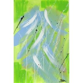 """J. Popolin Original Acrylic on Canvas """"Light Blue Green White Black Drips"""": An original abstract acrylic painting on canvas by contemporary American Abstract Expressionist artist J. Popolin (Cincinnati; 21st century), titled Light Blue Green White Black Drips. The painting depicts medium brush strokes of light blue and white with fields of green and black drips. Artist's signature is signed to the lower right. This work is not framed but equipped to hang. Popolin, a native of Cincinnati, has a BA in Fine Arts from Marietta College in eastern Ohio, and is currently a studio resident at the Pendleton Art Center in the historic neighborhood and arts district of Over-the-Rhine, Cincinnati. Popolin's art is influenced by travels and life experiences in Boston, Cape Cod, the Caribbean, New York City, Northern California, the United Kingdom and extensive travels throughout Europe and the United States. For further information and other paintings please see www.twoartistscreative.com."""