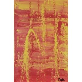 """J. Popolin Original Acrylic on Canvas """"Red Yellow Gradation with Splats"""": An original abstract acrylic painting on canvas by contemporary American Abstract Expressionist artist J. Popolin (Cincinnati; 21st century), titled Red Yellow Gradation with Splats. The painting depicts horizontal brush strokes of reds and yellows with drips of both colors vertically. Artist's signature is signed to the lower right. This work is not framed but equipped to hang. Popolin, a native of Cincinnati, has a BA in Fine Arts from Marietta College in eastern Ohio, and is currently a studio resident at the Pendleton Art Center in the historic neighborhood and arts district of Over-the-Rhine, Cincinnati. Popolin's art is influenced by travels and life experiences in Boston, Cape Cod, the Caribbean, New York City, Northern California, the United Kingdom and extensive travels throughout Europe and the United States. For further information and other paintings please see www.twoartistscreative.com."""