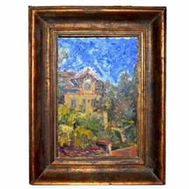 Original Oil Painting on Canvas by W. Bachmann: An original oil painting on canvas by W. Bachmann. The painting is presented in wide brush stokes and features a European style home with a bright blue sky as the backdrop. It is presented in a brushed gold tone wood frame and signed by the artist in the lower right.