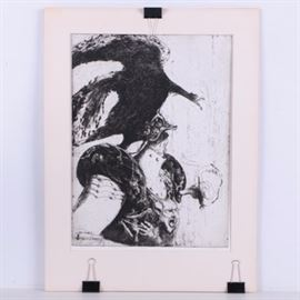 """Harold Isen Limited Edition Etching """"Wrath"""": A limited edition etching on paper titled Wrath by American artist Harold Bernard Isen (born 1940). This print depicts a grotesque scene in which a man in an oversized suit of armor with a ghoulish face on the breastplate. A large black vulture-like bird has taken hold of the man's helmet and is pulling it away, revealing a small, withered face that has its mouth open in a yell. It is signed to the lower right corner, titled to the lower center, and marked as number 7 in an edition of 75 to the lower left. It is presented behind a white mat."""