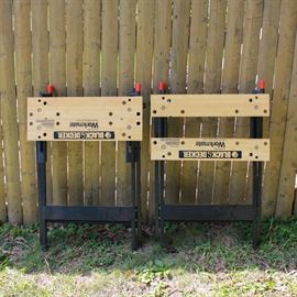 Pair of Black & Decker Work Benches: A pair of Black & Decker Workmate. The original workmate is a portable project center and vise. They have a wood table top and metal frames.
