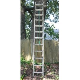 Werner Extension Ladder: A Werner extension ladder. The ladder has a silver tone metal and green rope.