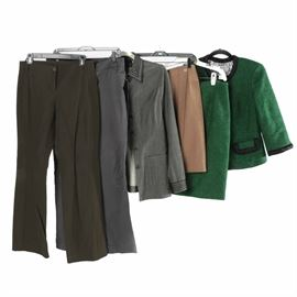 Assortment of Women's Clothing Including Worth: A collection of women's clothing. This includes a green Worth wool, mohair, silk and nylon kelly green tweed suit with a blazer featuring a rolled collar, hidden snap buttons, three-quarter sleeves, faux flap pockets and black rolled satin trim to the cuffs and pocket flaps, and a matching pencil skirt; a Worth tan wool wrap skirt with silver tone snap closures; a grey wool blend jacket with a pointed collar accented in embroidered ribbon detail that also accents the cuffs of the full-length sleeves, and patch pockets; a pair of Bitten Sarah Jessica Parker grey cotton blend, straight legged slacks; and a pair of Worth Petite cotton, nylon and spandex blend boot cut slacks.