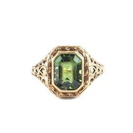 14K Yellow Gold Moldavite Ring: A 14K yellow gold moldavite ring.