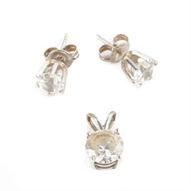14K White Gold Solitaire YAG Earrings and Pendant: A pair of 14K White Gold Solitaire YAG Earrings and Pendant