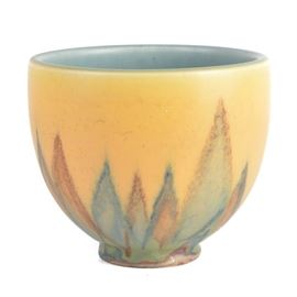 """1929 Rookwood Pottery Bowl: A 1929 Rookwood Pottery bowl. The yellow bowl with shades of blue, burnt orange, and greens with a turquoise interior was crafted by Wilhelmine Rehm. It is pattern No. 2254 E, signed """"WR"""", dated XXIX, and hallmarked with the Rookwood flame to the verso. It is marked as a second with an incised X."""