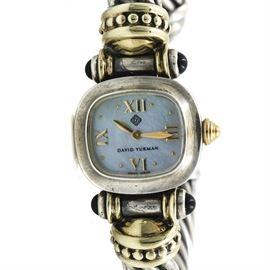 David Yurman Sterling Silver and 14K Yellow Gold Gemstone Wristwatch