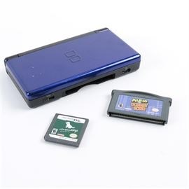 Nintendo DS Lite Game Console: A Nintendo DS lite portable game system. The unit features dual screens, a stylus, wifi compatability and is can play both DS and game boy advance games. Includes game boy advance game Mario VS Donkey kong and DS game Nintendogs, lab and friends.