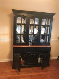 #2	China Cabinet Black/Wood with Glass  53x18x73	 $175.00