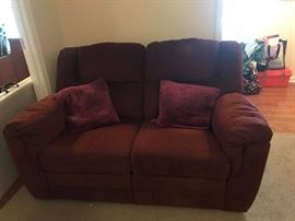 "#5	Double Burgandy Recliner loveseat  57"" long	 $75.00"