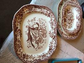 """Spode: Large Platter """"Royal Jasmine""""; Small Platter &  Vegetable Bowl """"Marina"""""""