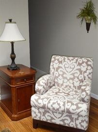 Hekman end cabinet and upholstered chair