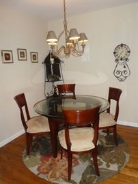 Kitchen table and chairs 48 inch round glass top