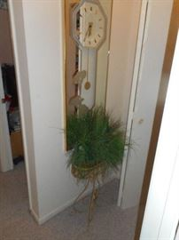 Wall mirror clock and plant stand