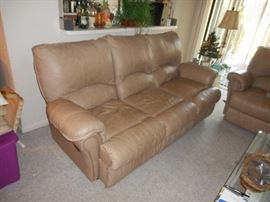 Reclining Leather Sofa, comes apart for easier transport