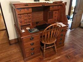 Solid oak roll-top desk