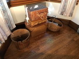 Large assortment of period baskets and containers