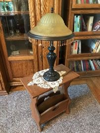 Magazine rack with brass/glass lamp