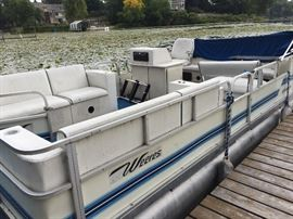1990 Weerers Sports DLX 24ft Pontoon with a newer Mercury Motor!