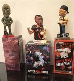 SF Giants SGA MIB Chewbaca Bobblehead, Buster Posey Bank and Hunter Pence Bobblehead.  Part of collection being sold.