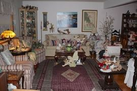 Home near bursting with items - Living room Furnishings, loads of Bric-A-Brac, Rug and Art