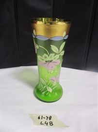 Art Nouveau hand painted vase, Period piece, gold rimmed on satin glass