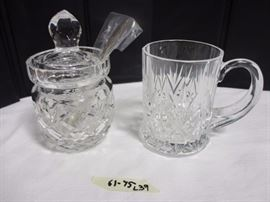 Crystal mug and marmalade jar with silver spoon
