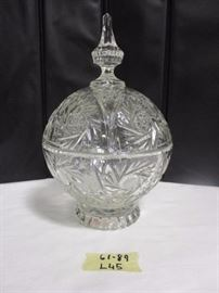 Hand cut lead crystal covered compote